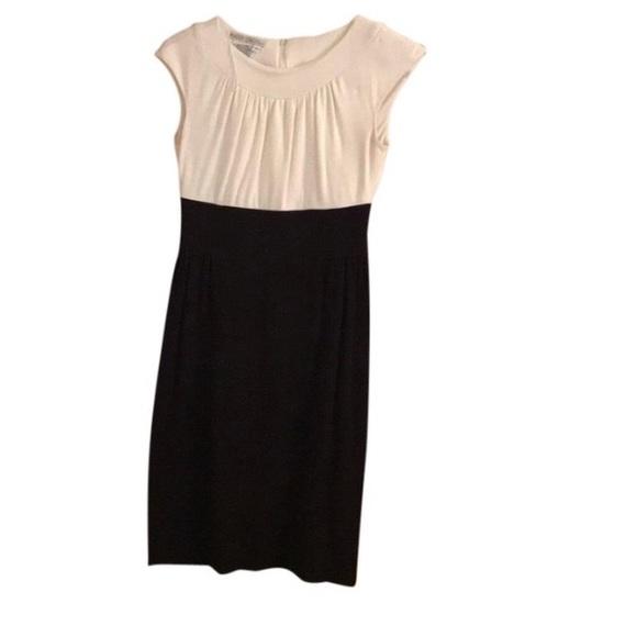 Maggy London colorblock black/white midi dress